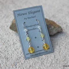 Swarovski yellow crystal, Sterling Silver, dangle earring