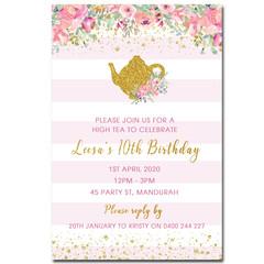 High Tea Personalised Birthday Invitation - YOU PRINT - BD270G