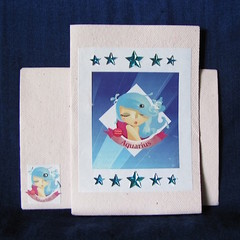 'Aquarius Girl' Pink Hand Made Birthday Card with Crystals and Stars