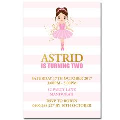 Ballerina Dance Personalised Birthday Invitation - YOU PRINT - BD225G