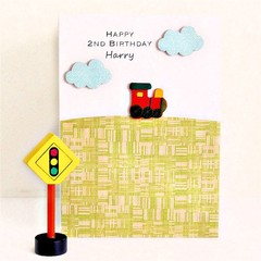 Any Age Train Birthday card personalised children trains