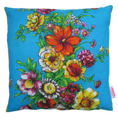 Flowers on Blue - Cushion cover made from a linen Vintage Retro Tea Towel