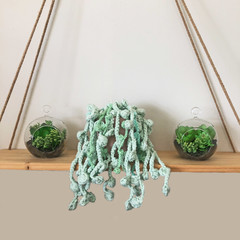 Crochet String of Pearls Hanging Plant in Pink Pot