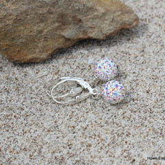 "Swarovski pave mini ""disco balls"", Sterling Silver, dangle earring"