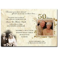 50th Wedding Anniversary Golden Invitation - YOU PRINT - A002