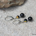 Swarovski black pearls & crystals, Sterling Silver, dangle earring