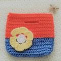 Handmade girls crochet bag blue orange/ tote bag/kids bag/kids gift idea