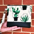 Cactus  - Wristlet with leather accent