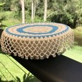 Sea Blue Doily Bowl Cover