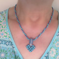 Reversible Heart Pendant Necklace - Blue and Purple