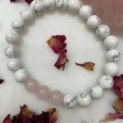 Rose Quartz and Howlite Gemstone Bracelet