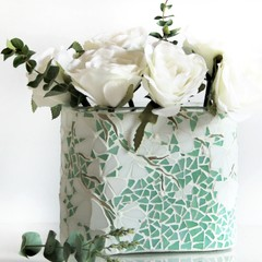 Mosaic vase in green and white
