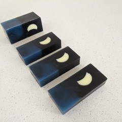 Night Sky Soap with Crescent Moon  (Black & Navy) - Kawaii soap art
