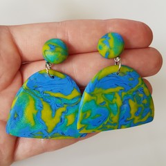 Mokume Gane technique polymer clay earrings
