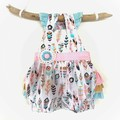 Baby Girls Frilly Romper Overalls - Boho Feathers - Size New Born | 0000