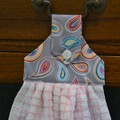 Set of 2 Fabric Topped Pink & White Hanging Hand Towels - Paisley