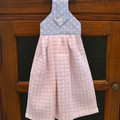 Fabric Topped Pink & Blue Hanging Hand Towel