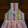 Set of 2 Fabric Topped Pink & White Hanging Hand Towels - Stripes