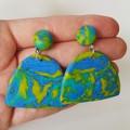 Mokume Gane technique polymer clay earrings