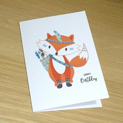 Kids Birthday card  - Tribal boho animal - fox