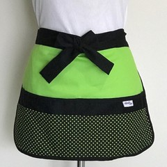 Teacher Apron Black & Lime Six pockets