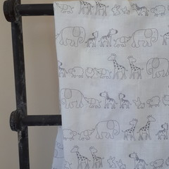 Large Muslin Cotton Wrap - White with Grey Animal Print