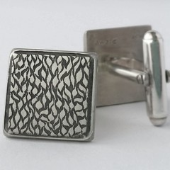 Square handmade  sterling silver ripple pattern cufflinks