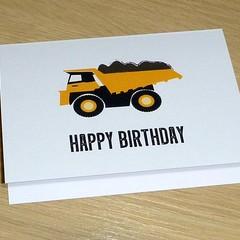Happy Birthday card - yellow truck