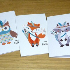 Set 3 Kids Birthday cards - Tribal boho animals