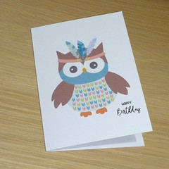 Kids Birthday card  - Tribal boho animal - Owl