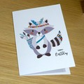 Kids Birthday card  - Tribal boho animal - raccoon