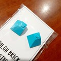 Chunky Bright Brick Stud Earrings