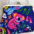 Pink Koala clutchbag with shoulder chain