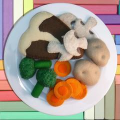 Felt Food Steak and Vegetables