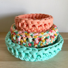Crochet basket | essential oils | storage basket | TRIO SET AQUA PEACH RAINBOW