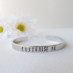 CUSTOM RESINATING WORDS - customise this ladies cuff bangle hand stamped with a