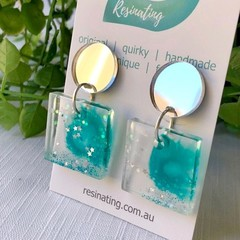 SPARKLERS - hand cast resin earrings in clear and teal