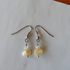 Pearls, Freshwater pearls + clear crystal tiny elegant small dangling earrings,