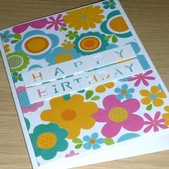Female Happy Birthday card  - Multi coloured Flower Power