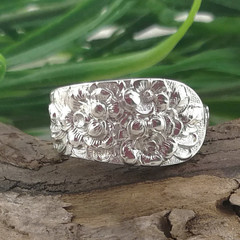 BOTANICAL RING, Floral Rose Sterling Silver Spoon Ring. Custom size.