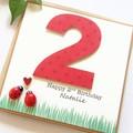 Any Age Ladybug Birthday Card, Personalised, Custom Made Handmade Birthday Card