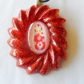 Red babushka in red glitter resin pendant leather necklace