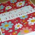 Female Happy Birthday card  - Pink Flower Power