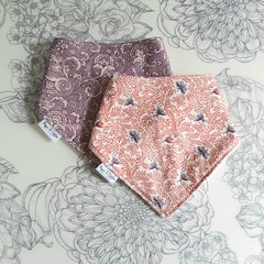 Two Bandana Bibs | Purple & Butterfly Design