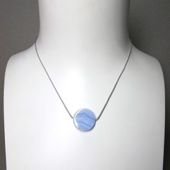 Simplicity- Blue lace agate coin bead on short silk necklace