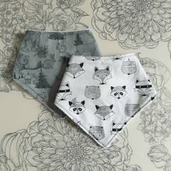 Two Bandana Bibs | Woodland Animal Design