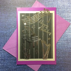 Purple Birthday Card with Silver Instruments and Music