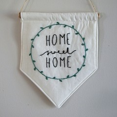 """Embroidery Wall Hanging Banner """"Home Sweet Home"""""""
