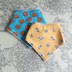 Two Bandana Bibs | Yellow Elephant & Blue Orange Design