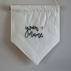 """Custom Nursery Embroidery Wall Hanging Banner """"Your Name"""""""